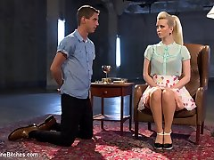 College-aged year elder Sam Truitt gets the punishment that such a young fellow deserves in this super-fucking-hot domestic basement with his mistress, Cherry Torn. 18 years elder is scarcely old enough to be called a stud and boys will be guys and that trouser snake of his does all his thinking for him. Virgin instantaneously bends Sam over her knee providing him a stiff spanking until he is fish flopping in her lap. He's made to help her into her strap-on and then face down ass up & nailed hard in his young lil asshole. His face is locked in a face sitting cell and Cherry's round ripe bootie takes his breath away. Cherry even uses his cock as a human dildo! Sam's dinky is of course on the edge of eruption the whole time and only Virgin will decide his fate.