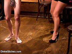 Mistress Sophie Dee and her cuckold close down the local bar where three hot well hung black...