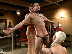 Lorelei Lee throws Aiden Starr and Maitresse Madeline a joint birthday to remember. Live and public three lucky slaveboys are put on display and humiliated in a room full of lovely femdoms. Claire Adams and Miz Berlin make cameos along with many other kink favorites and the men endure CBT, harsh whipping, lactating dommes, gang banged with dicks on sticks by a roomful of women, prostate milking by Madeline and used as a sex toy. Sure was a night to remember!
