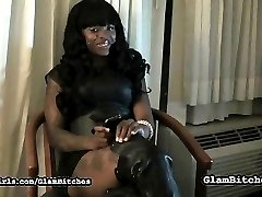 She made him beg for a break, this black babe set back and relaxed a bit while he licked her knee high boots, every inch of them, including the soles