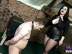 Mistress Jemstone whips laughing sub Ady and kicks his balls