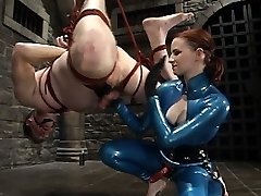 Claire Adams takes Her victim to fresh painful heights as She uses him as rug, hangs off his suspended assets, reams his donk, hammers his dick for every time he doesn't jizz and finishes him off with the one bar prison up his ass.