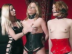 Dominatrix Mistress Erzsebet manhandles her slaves breasts and restricts them in this Bondage & Discipline porno scene