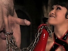 The very sexy Dragonlily is back and wildbill is her willing sub in a set of sultry predominance that leaves bill asking for let out.  But first the pain.  Dragonlily uses cold steel to stretch his testicles and torment his libido, and hard bondage to molest his jaws and hatch with a huge dick on a stick.  Gagging and drooling, bill begs for a taste of her fabulous orbs and she takes pity on him, but quickly turns him over for a brutal ass shagging and painful hand job.