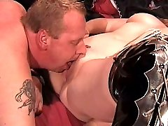 Old man licks his chubby wife pussy before fist and fuck her with dildo