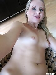 Good looking blonde girl has small tits and tasty pink pussy and she wants to tape it with her...