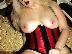 Busty blonde Zenova Braeden brandishes her big boobs while rubbing her hirsute pussy