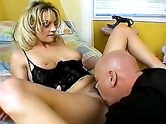 Pretty blonde babe gets her furry cunt stretched with dick