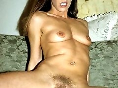 Pretty pornstar with a hirsute pussy bouncing on top of a stiff cock and gets nasty cream pie