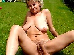 Horny mature MILF has hairy bush soaked in jizz!