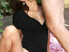 Slutty hirsute lady Leslie gives a blowjob and fucks a dick with her wet hairy pussy in the...