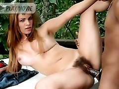 Blonde Latina Tais on her knees jilling off her hairy cunth while performing hot oral on a black dick
