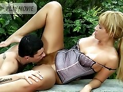 Pretty blonde Thais spread legged outdoors while a stud licks and screws her natural hairy beaver
