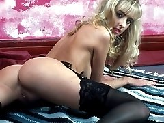 Nasty slim blonde undressing revealing luscious butt and bushy pussy
