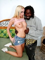 Blonde stretches her pussy lips wide for a black dick drilling