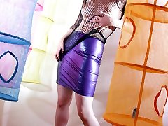 purple hair curvy busty punk woman fetish skirt