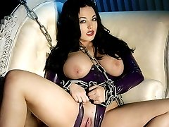 Titty brunette and purple latex