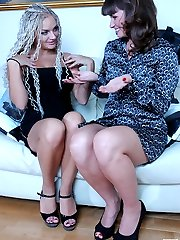 Horny lesbian babe makes passes at her girlfriend revealing a huge strap-on