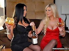 Super sophia santie and her lesbo babe come home after a day lingerie shopping to munch on their...