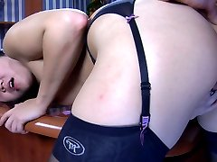 Asian office girl strips to her gartered stockings for a hot office quickie