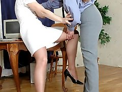 Hot police-woman in high heel shoes inspecting cutie in sheer-to-waist hose