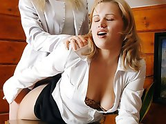 Spicy secretary gals pulling down their pantyhose and fingering yummy pinks