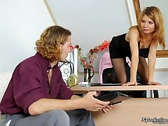 Smoking female chief in black pantyhose giving outrageous footjob like a pro