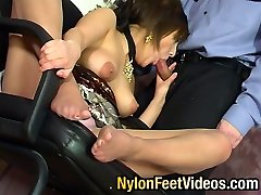 Spectacular damsel teasing policeman with her nyloned feet aching for stiff bonus