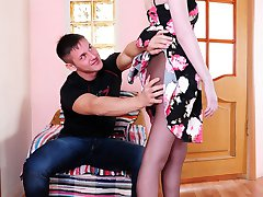 Hottie strips to her dark tights and high heels for breathtaking coupling