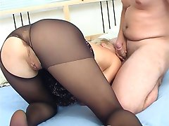 Sweet blonde in black pantyhose fucked in all holes!