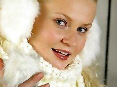 Sumptuous blonde Karen in winter coat with lingerie underneath