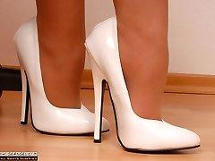 Sexy Secretary in mega high heels and suntan pantyhose