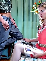Dolled-up chick in white lacy stockings gives legjob aching for hard doggie