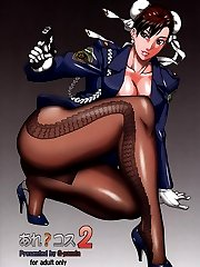 Hentai cop in sheer pantyhose shows her cool legs