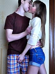 Pretty girl wears tights under her shorts to please her nylon-loving boy