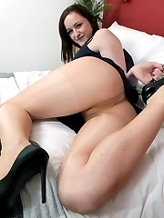 Vivienne with some sexy pantyhose play, nylon beautiful bottom posing and tearing of sheer nylon!