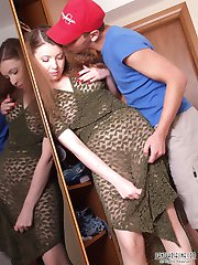 Raunchy babe in pantyhose riding on meaty rod while eagerly stroking balls