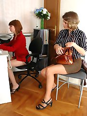 Lewd female co-worker in lacy tights can�t hide her desire of muff-eating