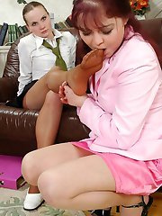 Naughty schoolgirl thoroughly licking every yummy toe clad in tan pantyhose