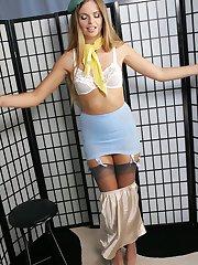 Lovely Ashleys uniform stritpease
