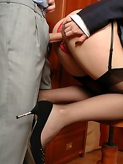 Assistant in black nylons taunting hot guy demonstrating her slit in various ways
