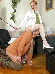 Hottie in white stockings turning guy into her dirty and submissive sex toy
