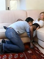 Beauty caressing pecker without taking off her stocking and high heel boots