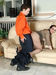 Freaky next-door honey squeezing her round-shaped boobs while cowgirl railing