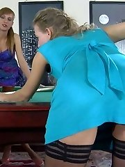 Heated babes undress and shag in gartered stocking after playing billiards