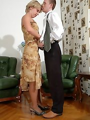 Nylon addicted boss frolicking kinky role games with pantyhose clad assistant