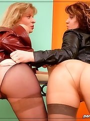 Celina and Angel are ripping their pantyhose