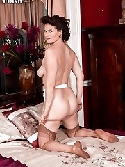 Brianna recalls her early days dressing up that got her into a enjoy of antique nylons and lingerie!