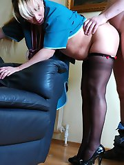 Hot mature maid in black shiny pantyhose gets her pussy dicked and creamed