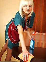 Kinky blonde maid choosing her sheer-to-waist pantyhose for household work